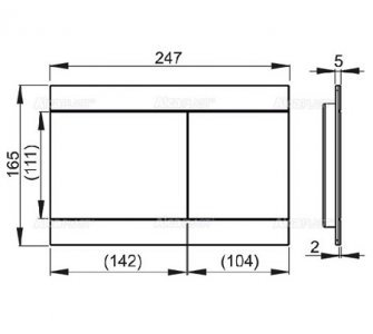 Ovládacie tlačítko pre predstenové inštalačné systémy, alunox - mat