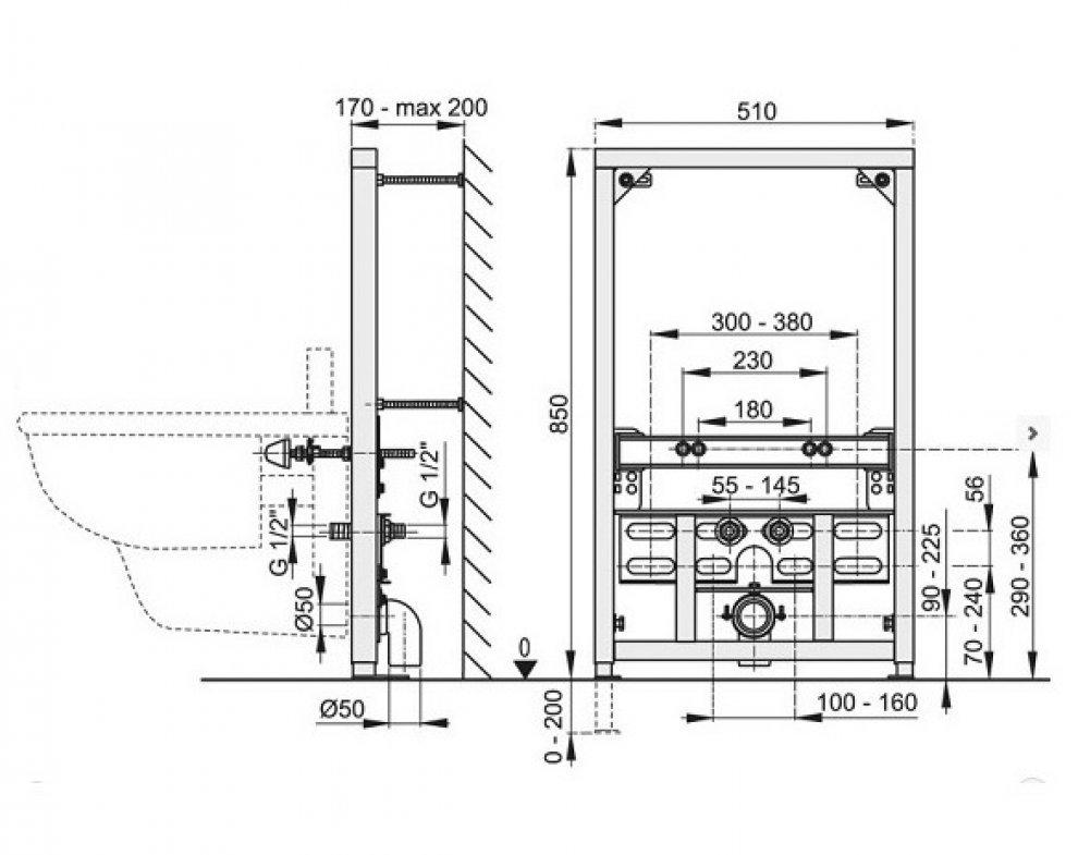 Montážny rám pre bidet (stavebná výška 0,85 m)