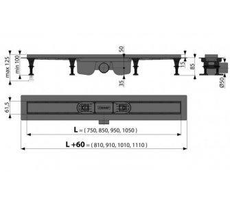 Podlahový žlab s okrajom pre perforovaný rošt alebo vloženie dlažby, 750mm, OPTIMAL