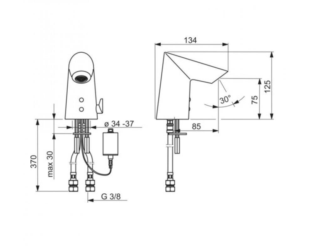 elektronická umývadlová batéria s nastavením teploty, Bluetooth, napájací zdroj 9/12V, HANSAFIT