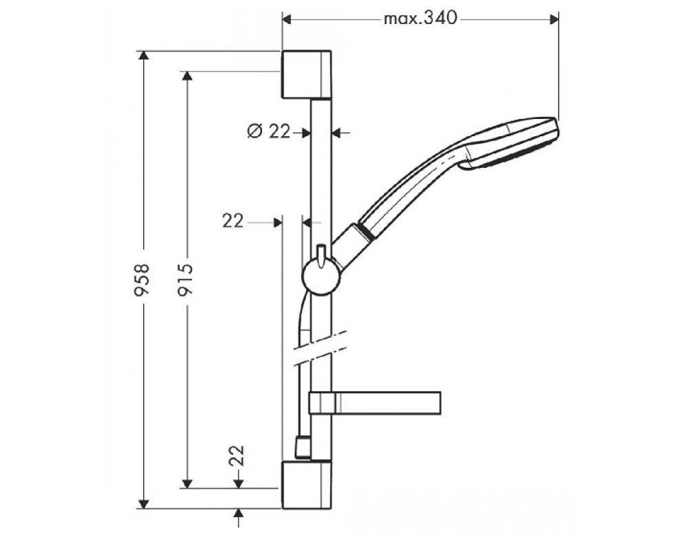 27653000 Croma 100 Vario EcoSmart/Unica'C Set (ručná sprcha, tyč, miska)