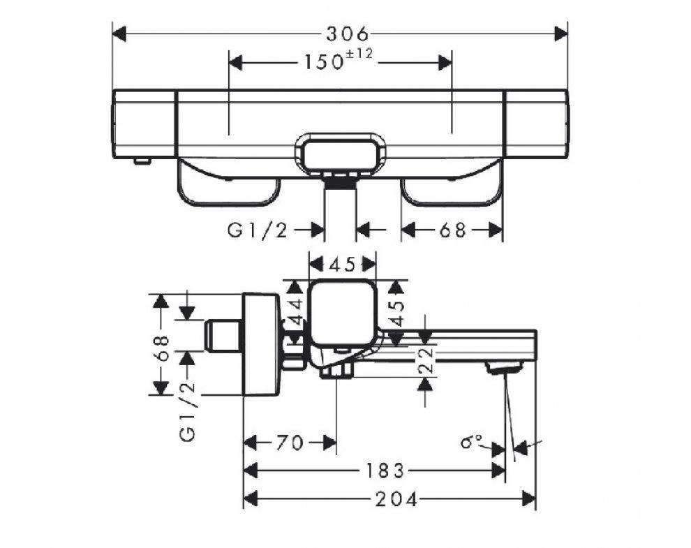 batéria vaňová stenová termostatická, ECOSTAT E