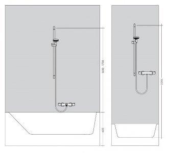Sprchová súprava 1jet EcoSmart 9 l/min 0,65 m, biela/chróm