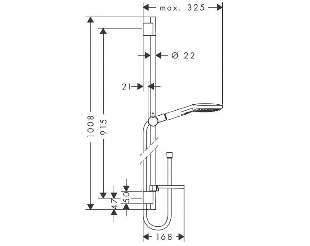 sprchová súprava 120 AIR 3jet EcoSmart, Unica'S Puro 0,90 m, biela/chrom
