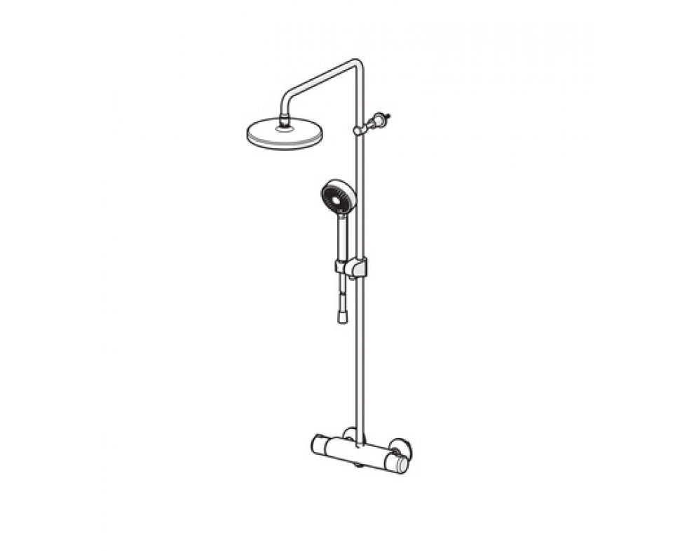 Sprchový termostatický systém s hlavovou sprchou d200 mm a ručnou 3.poloh.sprchou Basicjet d 95mm, HANSAMICRA