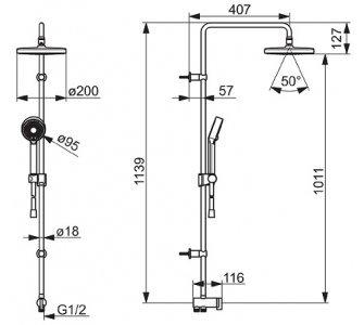 Sprchový systém s hlavovou sprchou d200 mm a ručnou 3.poloh.sprchou Basicjet d 95mm pre pripojenie k baterii hadicou