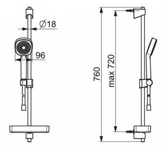 sprchová súprava BASICJET STYLE s tyčou 720mm, ručná sprcha jednopolohová