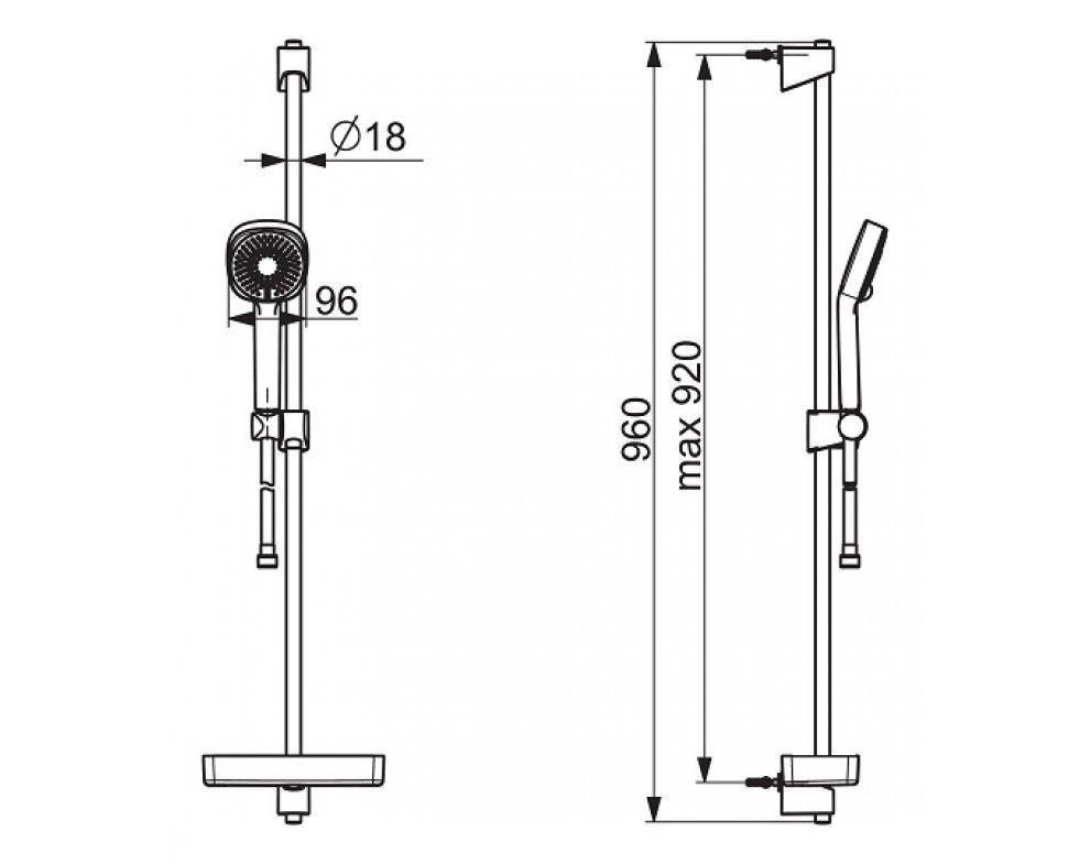 sprchová súprava BASICJET STYLE s tyčou 920mm, ručná sprcha trojpolohová