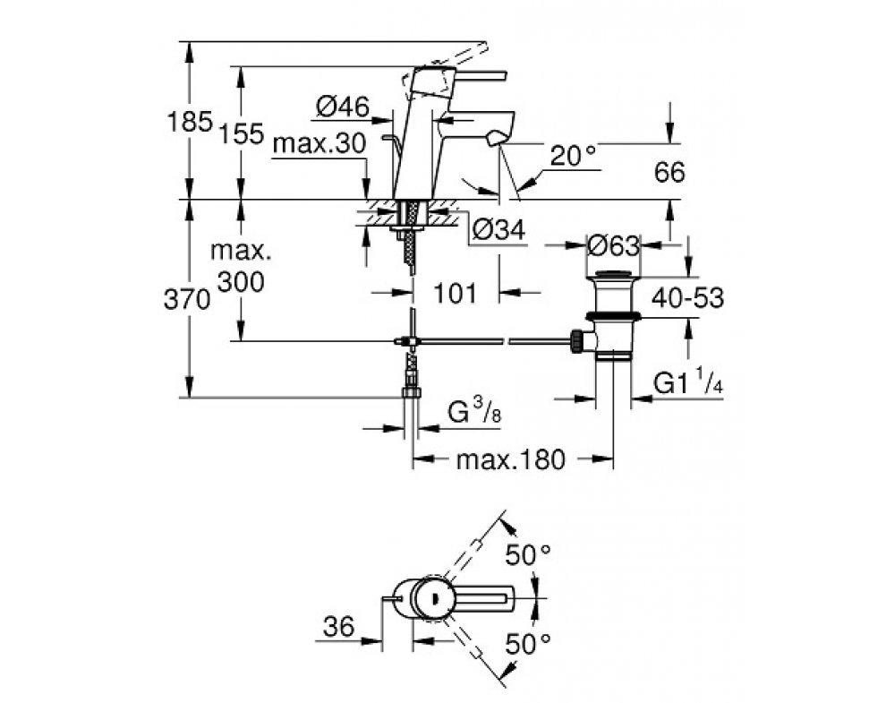 Páková umývadlová batéria s odtokovou garnitúrou Concetto New