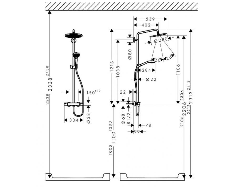 Sprchová súprava CROMA Select S Showerpipe s termostatom, 280 1jet, EcoSmart 9 l/min, chróm