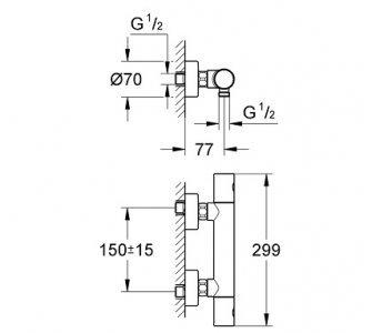 Termostatická sprchová batéria Grohtherm 1000 Cosmopolitan