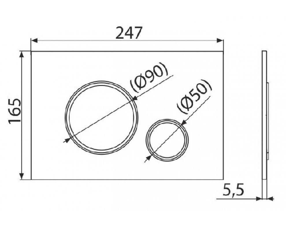 THIN - Ovládacie tlačítko pre predstenové inštalačné systémy, čierna-mat/chróm-lesk