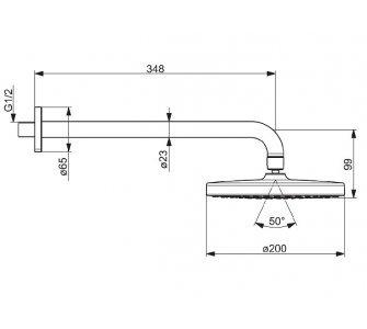 Hlavová sprcha so sprchovým ramenom, priemer 200mm, HANSABASICJET