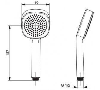 Ručná sprcha 1-polohová, HANSABASICJET