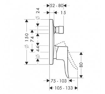 31487000 Metris páková vaňová batéria pod omietku so zabudovanou bezpečnostnou kombináciou