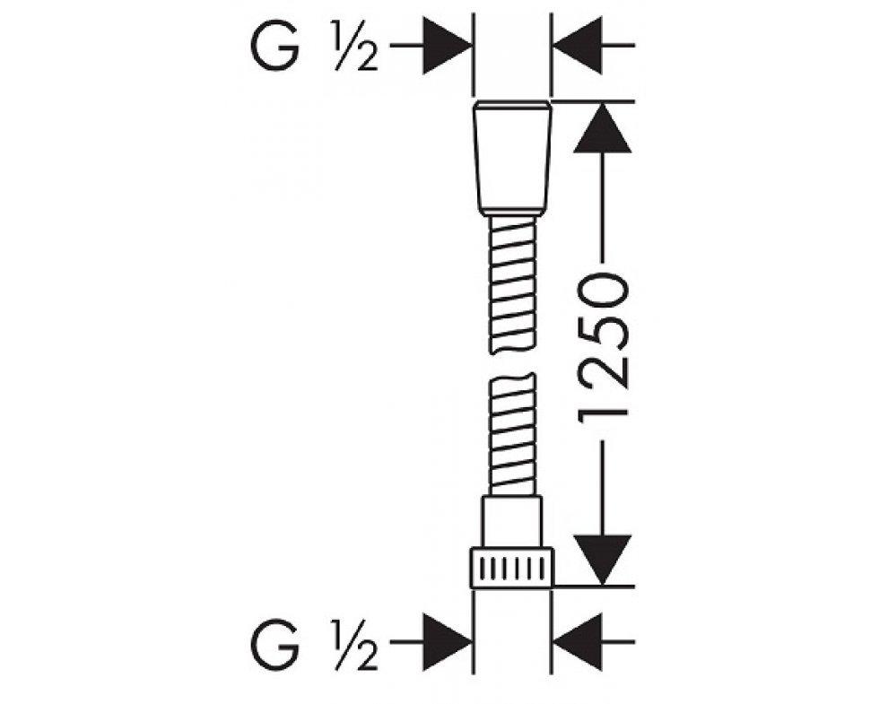 Sprchová hadica plastová, METAFLEX, 1250 mm, chróm