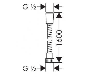 Sprchová hadica plastová, 1600 mm, METAFLEX, chróm