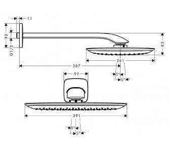 Horná sprcha 400 mm so sprchovým ramenom 387 mm, PuraVida, chróm