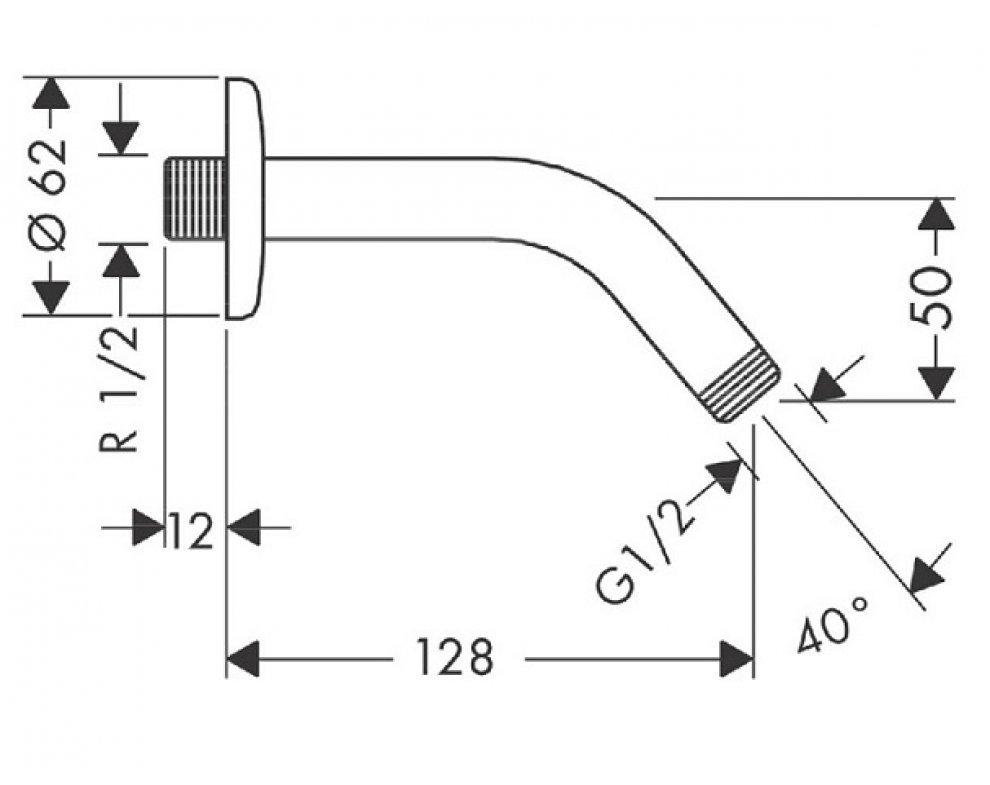 Sprchové rameno DN 15,  110mm, 45 st., chróm