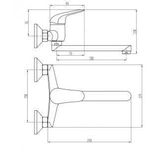 batéria drezová stenová s rovným liatym 20cm výtokovým ramenom, PLUTO