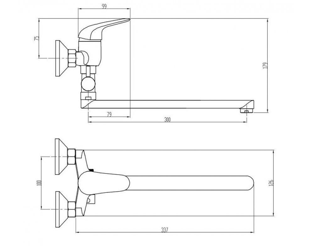 batéria drezová stenová s rovným liatym 30cm výtokovým ramenom, rozstup 100mm, PLUTO