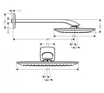 Horná sprcha 400 mm so sprchovým ramenom 387 mm, PuraVida, biela/chróm