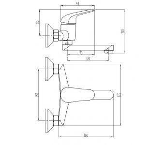 batéria drezová stenová s rovným liatym krátkym 12cm výtokovým ramenom, PLUTO