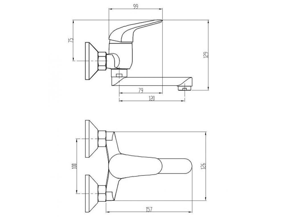 batéria drezová stenová s rovným liatym krátkym 12cm výtokovým ramenom, rozstup 100mm, PLUTO
