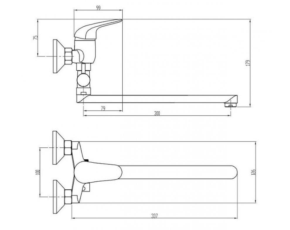 batéria vaňová stenová do bytového jadra s rovným liatym 30cm výtokovým ramenom, s keramickým prepínačom, bez príslušenstva, rozstup 100mm, PLUTO