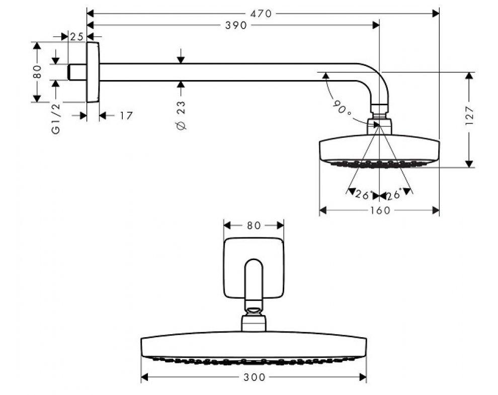 horná sprcha Raindance Select E 300 mm 2jet, chróm, so sprch. ramenom 390 mm