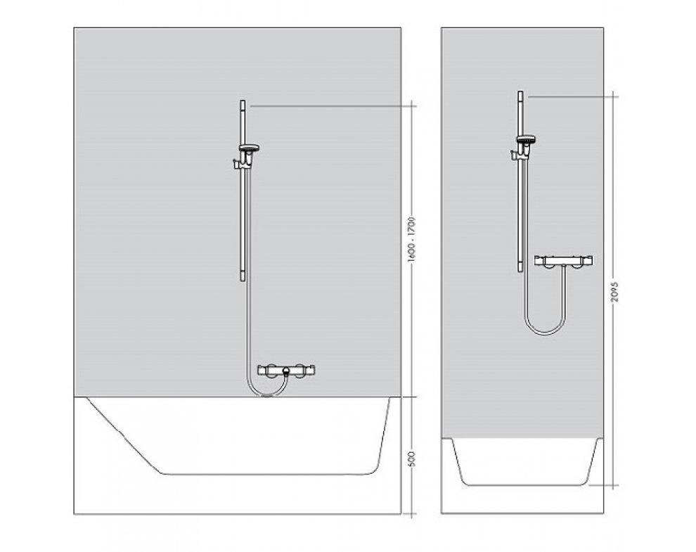Sprchová tyč plastová, dĺžka 65cm, so sprchovou hadicou, UNICA