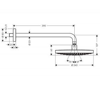 horná sprcha Raindance Select S 240 2jet so sprchovým ramenom 390 mm, biela/chróm