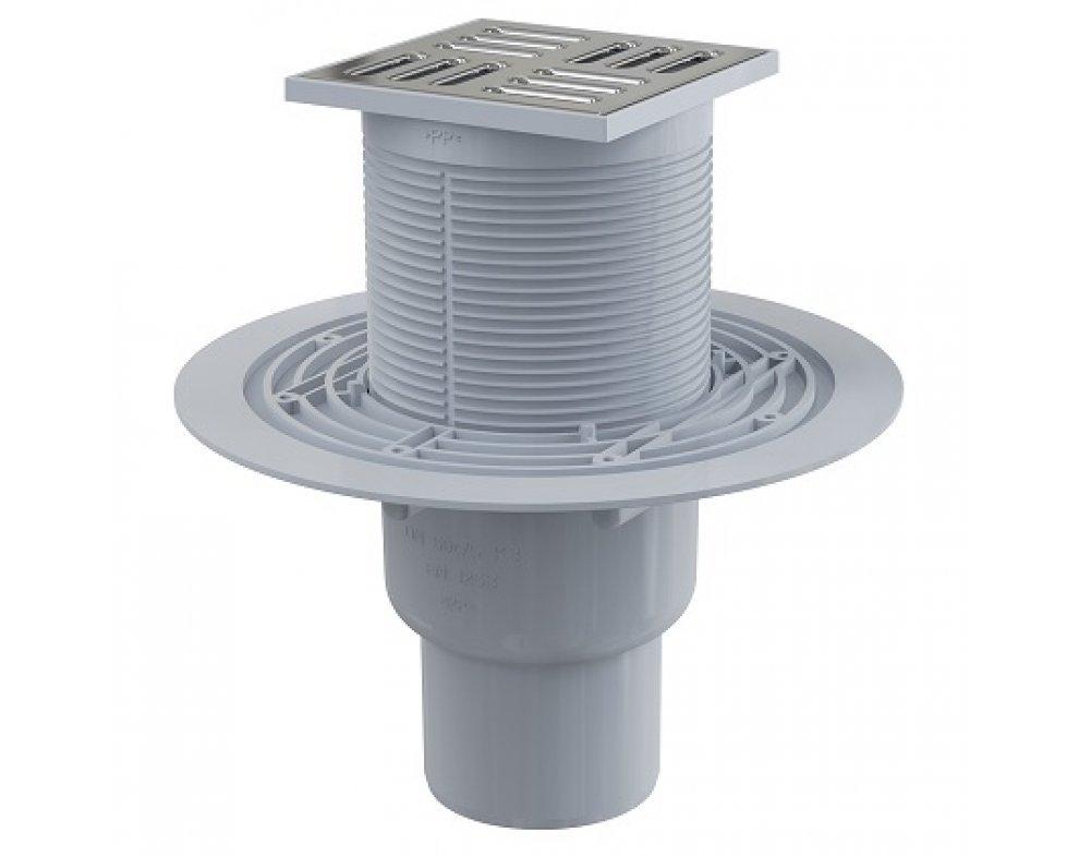 Podlahová vpusť 105 × 105/50/75 priama, mriežka nerez, vodná zápachová uzávera