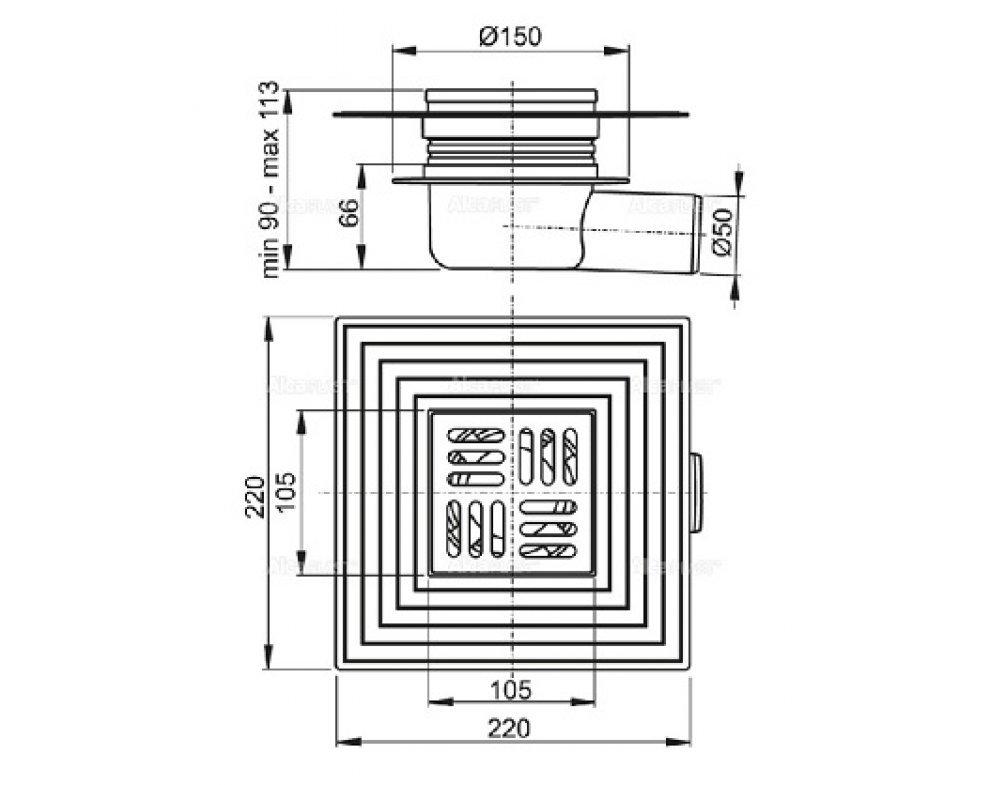 Podlahová vpusť 105 × 105/50 bočná, mriežka nerez, límec 2. úrovne izolácie, suchá zápachová uzávera