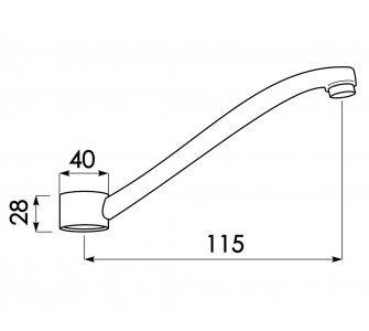 Výtokové ramienko pre batériu PLUTO 3113/K, 150mm