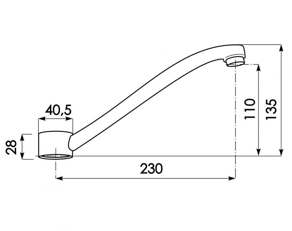 Výtokové ramienko pre batériu PLUTO 3113, 200mm