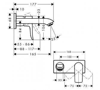 Umývadlová podomietková batéria Metris