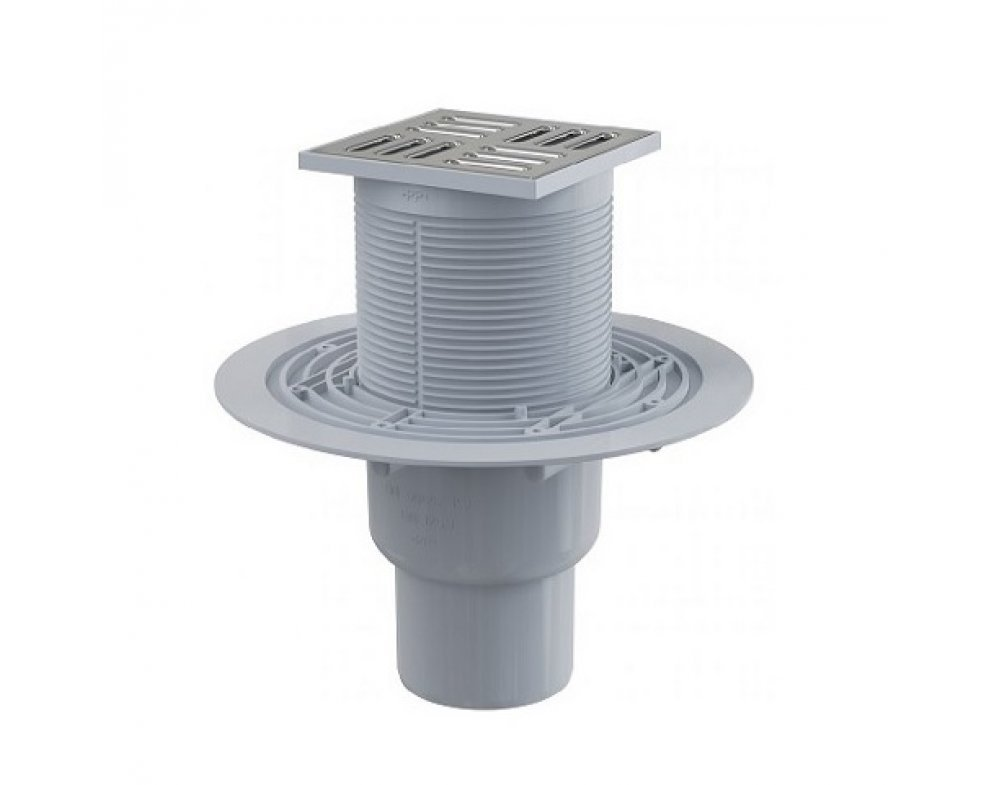 Podlahová vpusť 105 × 105/50/75 priama, mriežka nerez, kombinovaná zápachová uzávera SMART