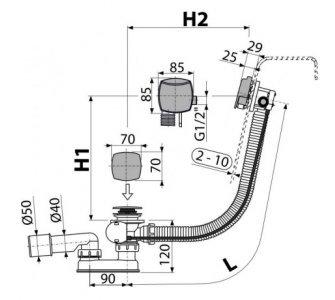Sifón vaňový automat s napúšťaním prepadom chróm