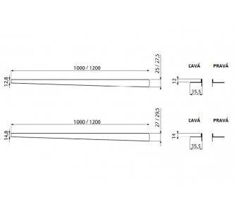 Nerezová lišta pre spádovanú podlahu (ľavá, dĺžka 1,2m, hrúbka dlažby 12mm, mat)