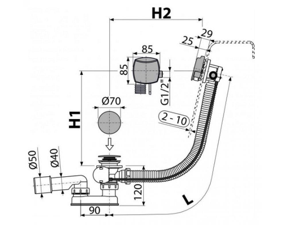 Sifón vaňový automat s napúšťaním prepadom kov