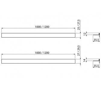 Nerezová lišta pre spádovanie podlahy obojstranná (dĺžka 1m, hrúbka dlažby 12mm, mat)
