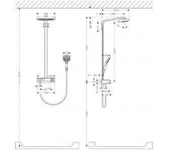 Showerpipe 300 3jet, termostatická sprchová batéria, sprchové rameno 380 mm, chrom