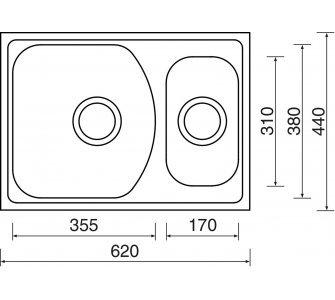 drez nerezový Sinks TWIN 620.1 V 0,6mm matný