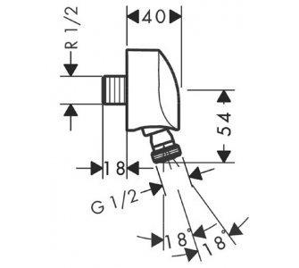 Prípojka hadice so spätným ventilom a otočným spojom, DN15, FixFit E, chróm