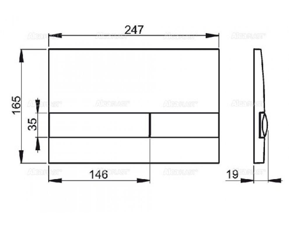 Ovládacie tlačítko pre predstenové inštalačné systémy, biela/chrom-lesk