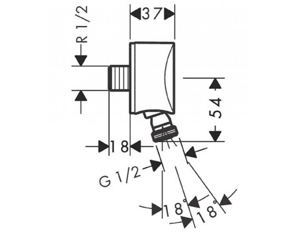 Prípojka hadice so spätným ventilom a otočným spojom, DN15, FixFit S, chróm