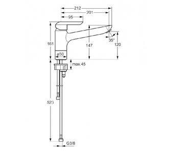 HANSAVANTIS, jednootvorová páková baterie pro dřez, DN 15, připojení pomocí tlakových hadic
