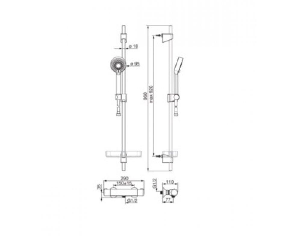batéria sprchová termostatická so sprchovou súpravou HANSABASICJET, HANSAMICRA