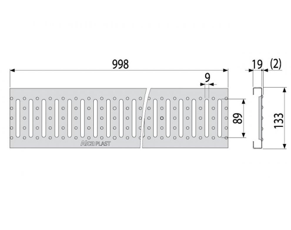 Vonkajší žľab 100 mm s integrovaným plastovým rámom s pozinkovaným roštom C profilu
